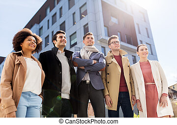 international group of people on city street - business,...