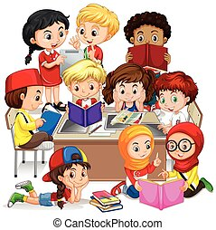 international, groupe, enfants, apprentissage