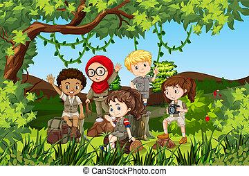 international, groupe, enfants, camping