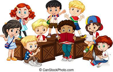 international, groupe, enfants