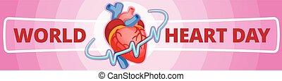 International heart day banner horizontal, cartoon style