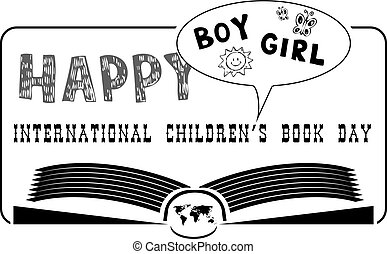 international, heureux, livre, childrens, jour
