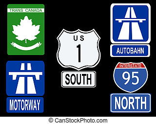 Highway sign - international Highway signs illustration...