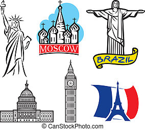 international historical landmark monuments (Eiffel Tower, Big Ben, Statue of Liberty, U.S. Capitol, St. Basil's Cathedral in Red Square - Moscow, Christ the Redeemer statue in Brazil, landmarks set)