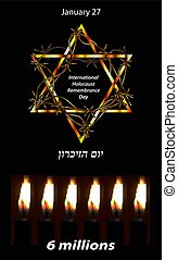 International Holocaust Remembrance Day. 27 January. The inscription in Hebrew Yom Hazikaron. Vector illustration