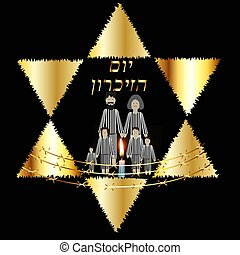 International Holocaust Remembrance Day on 27 January. Concentration camp. The Golden Jewish Star. Burning candle. inscription in Hebrew Yom Azikaron in translation Day of Memory. Vector illustration