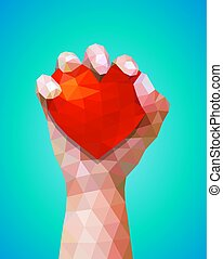 International Human Rights Day, Hand and Hearts Symbol of Love