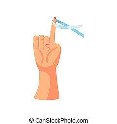 international human rights, female hand with ribbon in finger detailed