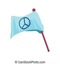international human rights, white flag in pole with peace emblem detailed