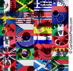 International Industry Symbol - Global world economy machine...