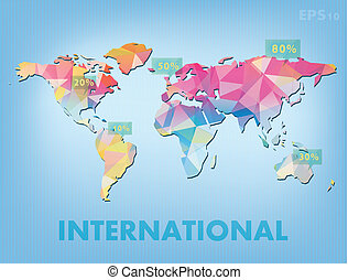 Info world map World blue map with information in key areas