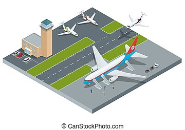 international, isométrique, aéroport, représenter, lignes ...