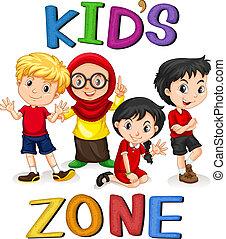 International kids character banner