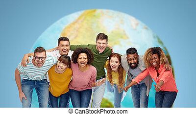 international, lächeln glücklich, personengruppe