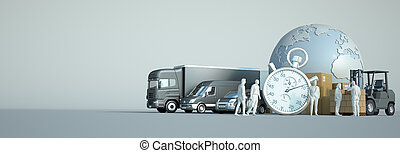 3D rendering of the world, packages and transportation vehicles with a chronometer