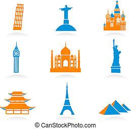 Icon set with famous international historical landmark monuments