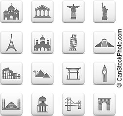 International landmarks icons