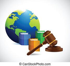 international law. legal concept illustration design over a...
