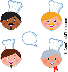 International light and dark skin Chef cooks head icons