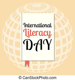 International Literacy Day. Event name on the cover book -...