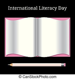 International Literacy Day. Open book and pencil -...