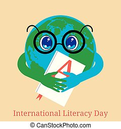 International Literacy Day. Planet Earth holds a book with...
