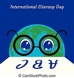 International Literacy Day. Planet Earth is a person in...