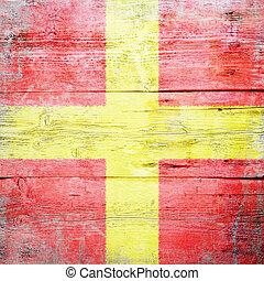 Romeo, international maritime signal flag painted on grungy wood plank background