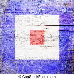 Whiskey, international maritime signal flag painted on grungy wood plank background