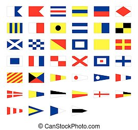 International maritime signal nautical flags, isolated on...