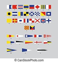 International maritime signal nautical flags, morse alphabet isolated on grey background