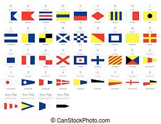 International maritime signal nautical flags, morse alphabet isolated on white background
