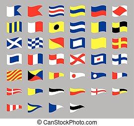 International maritime signal nautical waving flags, isolated on gray background