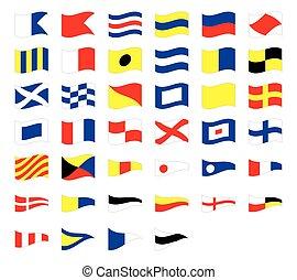 International maritime signal nautical waving flags, isolated on white background