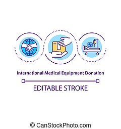 International medical equipment donation concept icon.