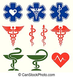 International medical, pharmacy and emergency care vector symbols