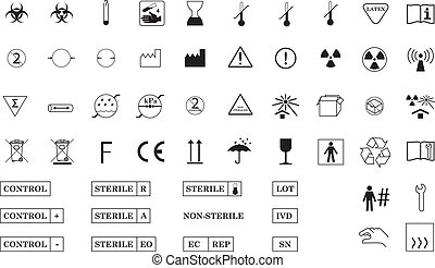 A collection of International Standard Medical Packaging Symbols isolated on white background.