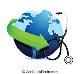 international medicine concept with a Stethoscope