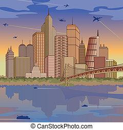 Illustration of a generic international city in daylight.