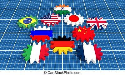 International Monetary Fund top ten members national flags...