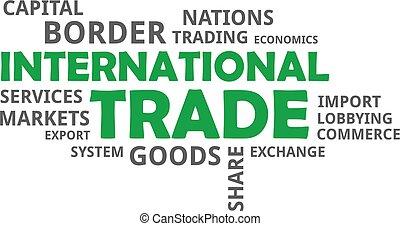 international, mot, -, nuage, commercer