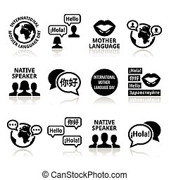 21 February - Mother Language Day vector icons set isolated on white