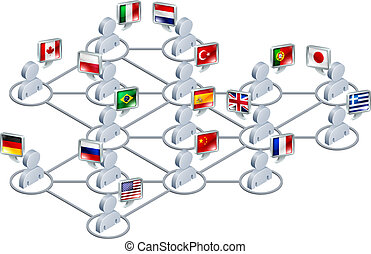International network concept. People linked in a network...