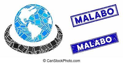 International Network Mosaic and Distress Rectangle Malabo Seals