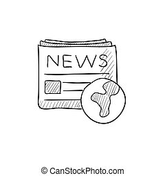 International newspaper sketch icon.