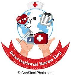 International Nurse Day logo with medical objects