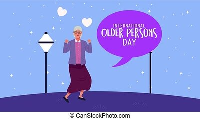 international old persons day celebration with grandmother celebrating ,4k video animated