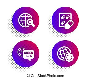 International ??opyright, Capsule pill and Quick tips icons set. Globe sign. Vector