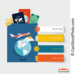 International passport and elements of travel. Business working