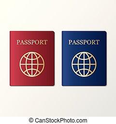 International passport on white background, vector illustration